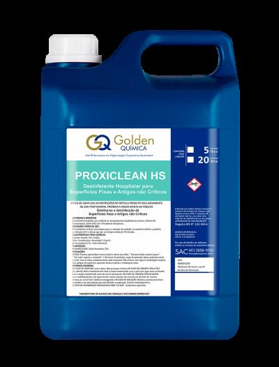 Proxiclean HS Desinfetante à base de ácido peracético com efeito oxidante contra um amplo espectro de micro-organismos. Foi desenvolvido para a desinfecção de superfícies fixas e artigos não críticos, indicado para desinfecção de equipamentos em geral, endoscópios, tubos corrugados, kits de micronebulização, nebulizadores de oxigênio, aço inox, aço cirúrgico, alumínio, plástico, acrílico e látex. Como desinfetante de artigos não críticos e superfícies fixas é ideal para o uso em hospitais e casas de saúde, ambulatórios, consultórios odontológicos, clínicas e postos de saúde. Podendo ser aplicado em pisos, paredes, mobílias e artigos não críticos em geral.